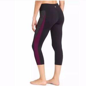 Athleta Cropped Black & Purple Leggings